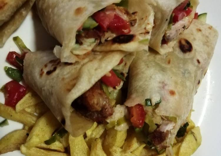 Simple Way to Prepare Award-winning Chicken wrap sandwich with potato wedges