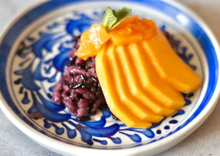 Simple Way To Make Ultimate Sweet Sticky Rice With Mango And Mango Coulis Moms Recipes