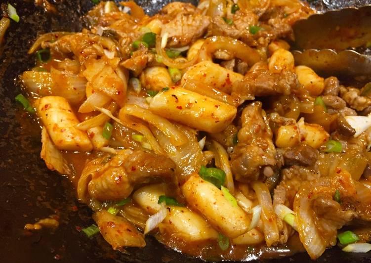 Foods That Make You Happy Ddukbokki with Pork & Kimchi