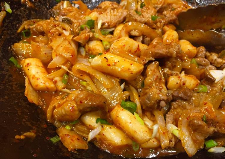 Easiest Way to Cook Tasty Ddukbokki with Pork & Kimchi