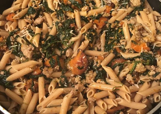 20 Minute Skillet: Penne with turkey, roasted butternut squash, and spinach