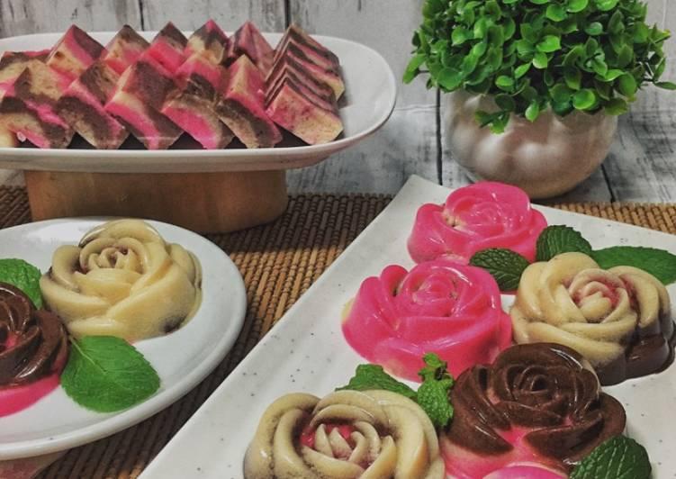 Puding Rose Marble (Maraton Ramadhan) manisan - resepipouler.com