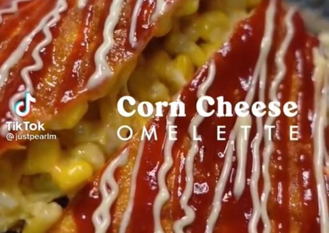 Lunch/Din Asian: Korean corn cheese omelette