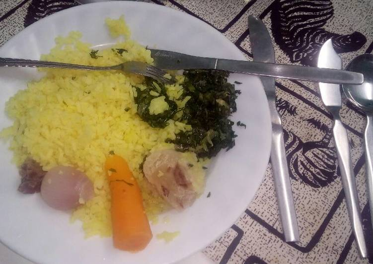 Steps to Cook Favorite Tumeric rice with fried vegetables