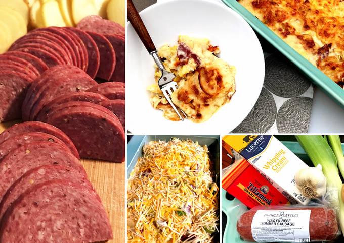 Wagyu Summer Sausage Cheesy Scalloped Potatoes