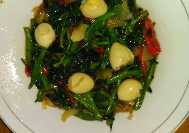Resep Cah Kangkung Telur Puyuh Kecap Shoyu oleh Eki Mayantari