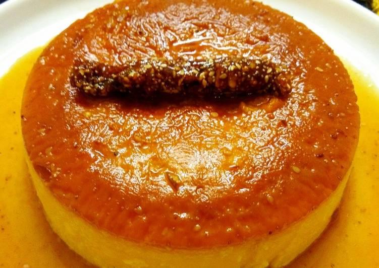 Christmas special eggless caramel custard pudding cake with dry fruit chikki log
