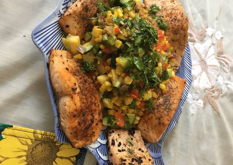 Easiest Way to Prepare Speedy Cajun Salmon w Succotash