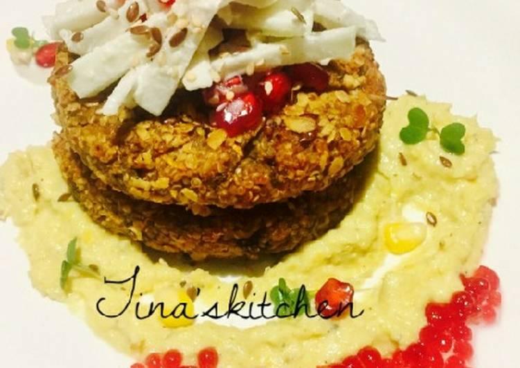 Recipe: Tasty Oats & quinoa croquettes with apple slaw & corn sauce