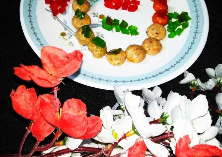 Recipe of Ultimate Tri Colour Mava Peda With cherry