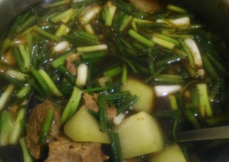 Rawon daging + sayur manisa