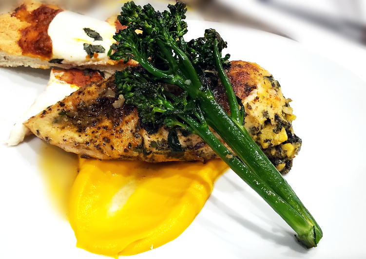 Sous Vide Stuffed Chicken Breast w/ Carrot Puree