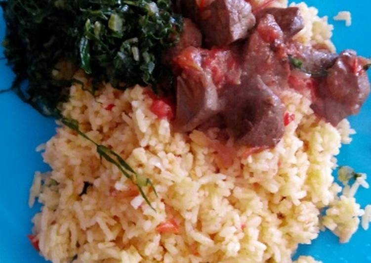 Fried rice with liver and greens