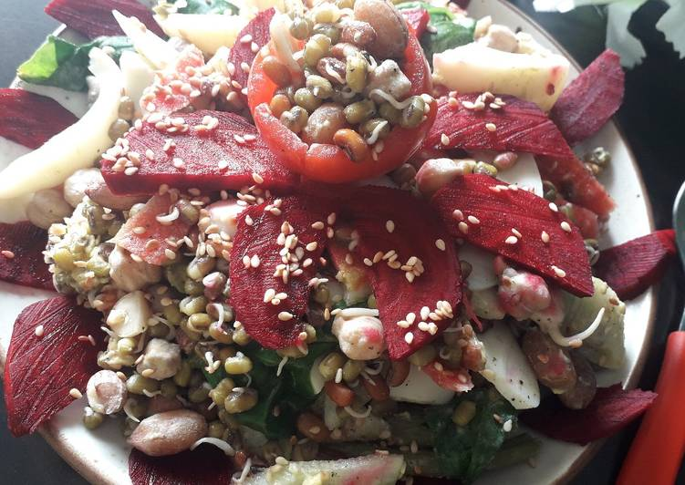 Steamed sprouts salad