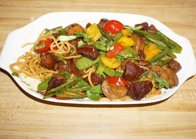 Simple Way to Prepare Homemade CHINESE BEEF STEW WITH STIR-FRY VEGETABLES AND LO MEIN NOODLES. JON STYLE