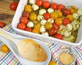 Tomates cherry y perlas de mozzarella