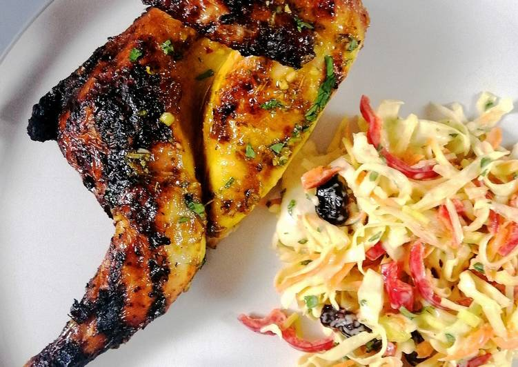 Step-by-Step Guide to Prepare Super Quick Homemade Spatchcock poussin glazed with orange and honey and festive slaw
