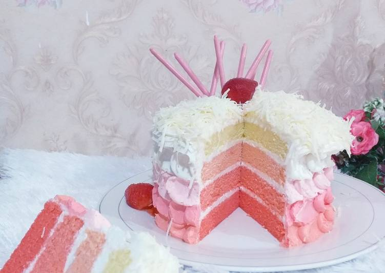 182. Ombre Cake Pinky Lovers (Bolu Kukus)