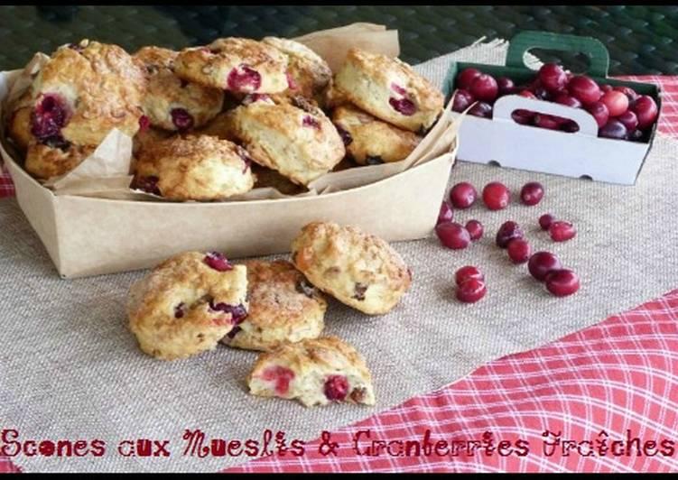 Scones au Muesli et cranberrys fraîches
