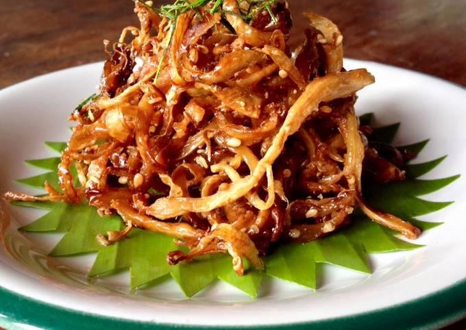 Vegetarian Sweeten Phoenix Mushroom/ Indian Oyster/ Oyster Mushroom with Sesame