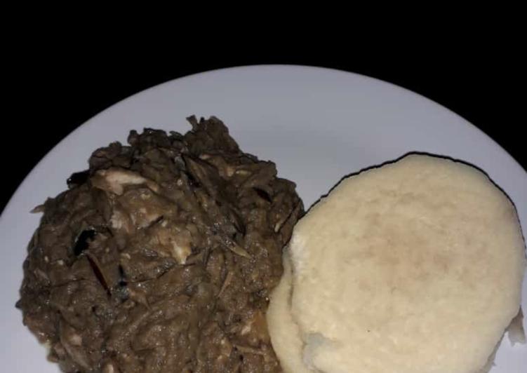 Boiled yam with ugba sauce