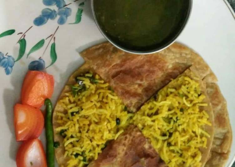 Leftover fried Rice stuffed Paratha