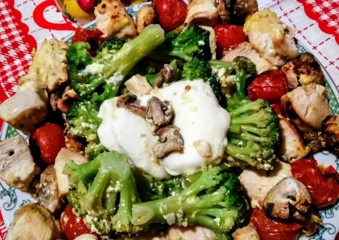 Куриный шашлык на кефире с овощами