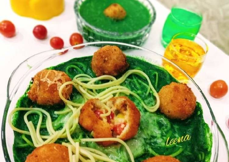 Step-by-Step Guide to Make Any-night-of-the-week Risotto Balls with Spinach Sauce and baked Spaghetti