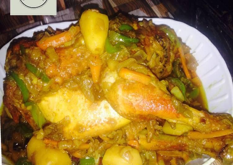 Egg stuffed in chicken stew recipe by Khabs kitchen