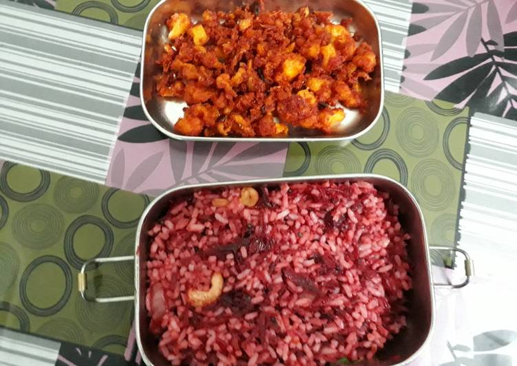 Beetroot rice and cauliflower fry