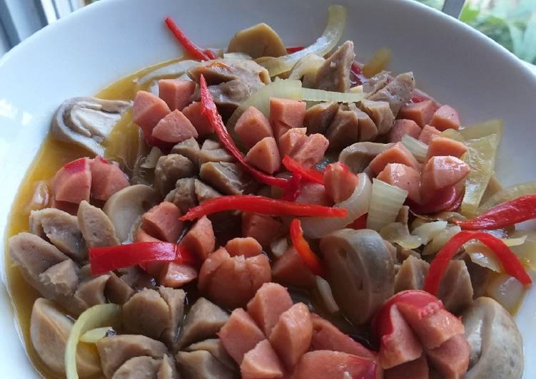 Sojuba rebus saus tiram (sosis jamur bakso rebus saus tiram)