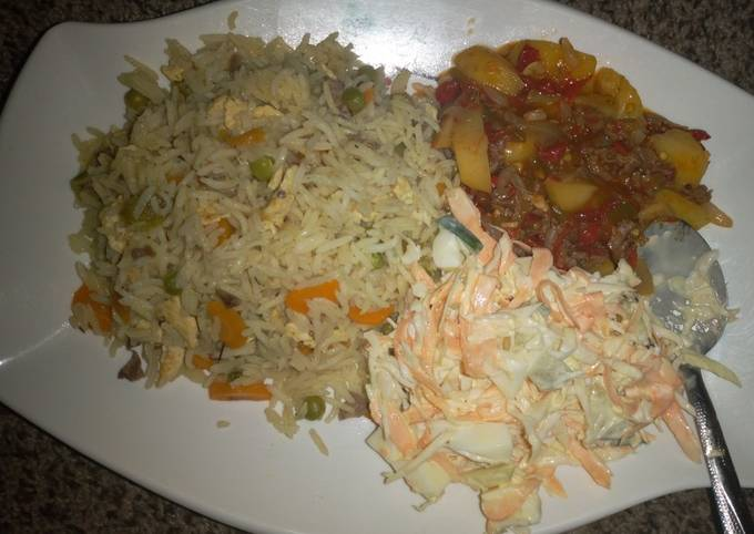 Chinese fried rice and coleslaw