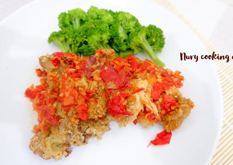 Ayam geprek oatmeal (diet friendly)