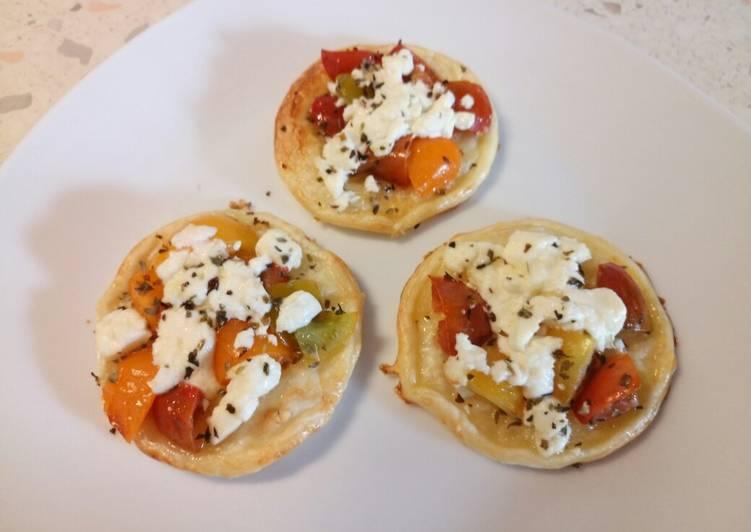 Feta and rainbow tomato tartlet