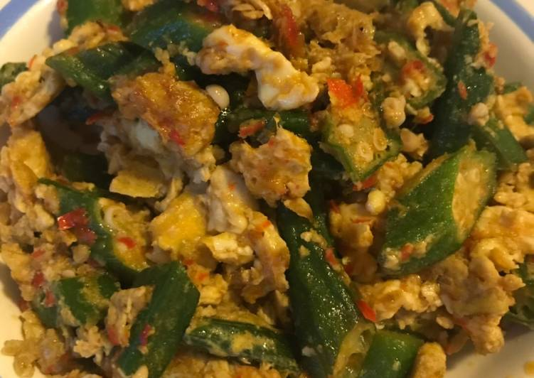 Simple Way to Make Super Quick Homemade Stir-fry Okra and Eggs
