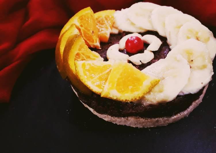 Mix fruit caramalized carrot cake
