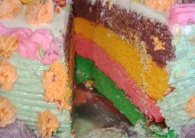 Bagaimana Cara Memasak Lezat Rainbow Kue Ultah
