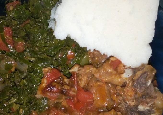 Ugali, beef stew and kales+ spinach