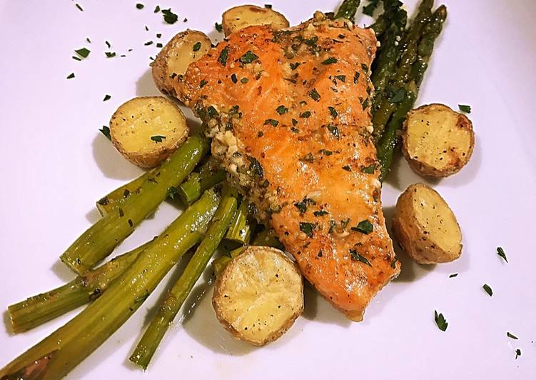 Recipe: Delicious Sheet pan Honey lemon garlic salmon with asparagus and potato
