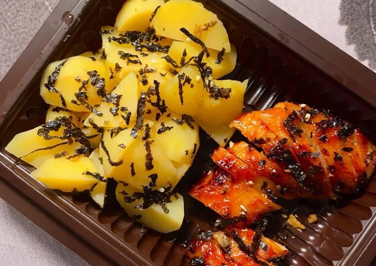 Makanan diet (Kentang rebus + Ayam panggang teflon)
