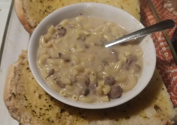 Mushroom and onion cheese steak pasta