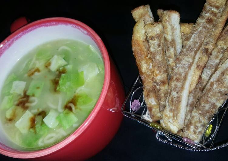 Recipe of Ultimate Cabbage noodles soup with potato masala sticks