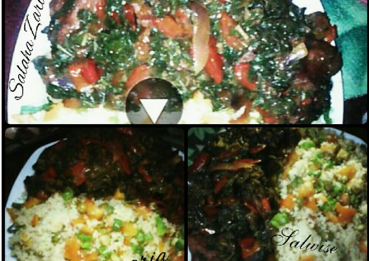 Vegetables couscous with stir fried spinach