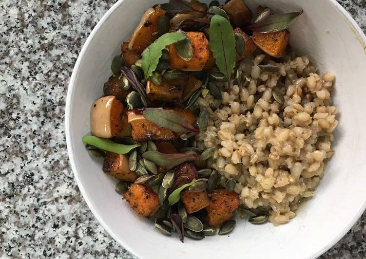 Steps to Make Award-winning Roast Butternut with Barley Risotto