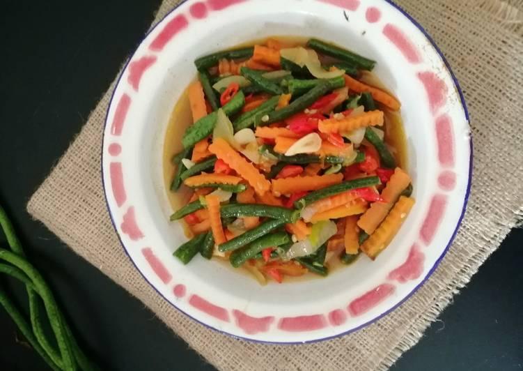 Tumis kacang panjang wortel pedas