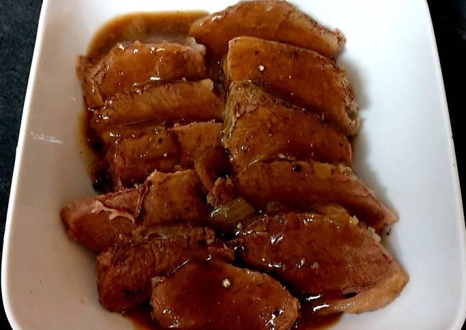 My Slowcooked Brisket beef in Onion Gravy.#Mainmeal