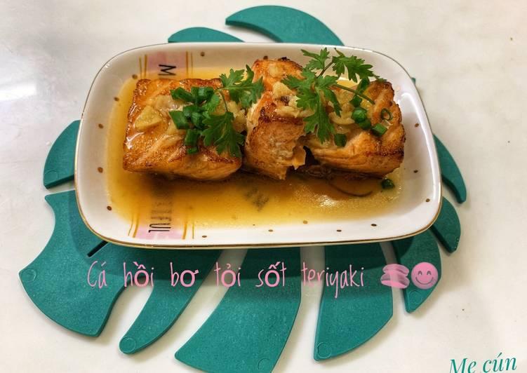 Cá hồi bơ tỏi sốt teriyaki