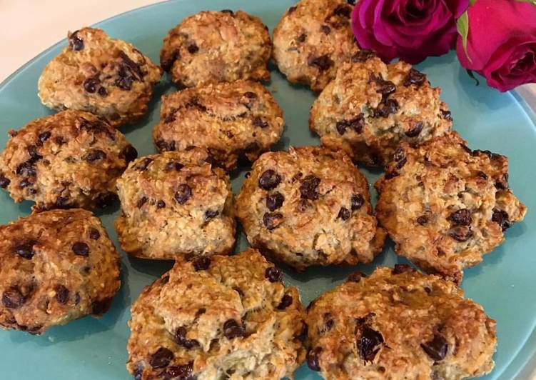 Cookies flocons d'avoine banane et pépites de chocolat 🍫