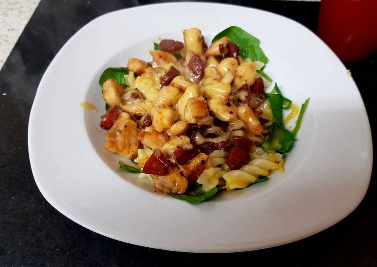 How to Make Perfect My Chicken, Chorizo pasta dish with melted Gloucstershire cheese