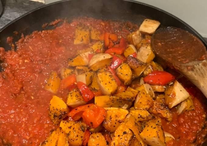 Smokey Squash, Chorizo and Red Pepper linguine